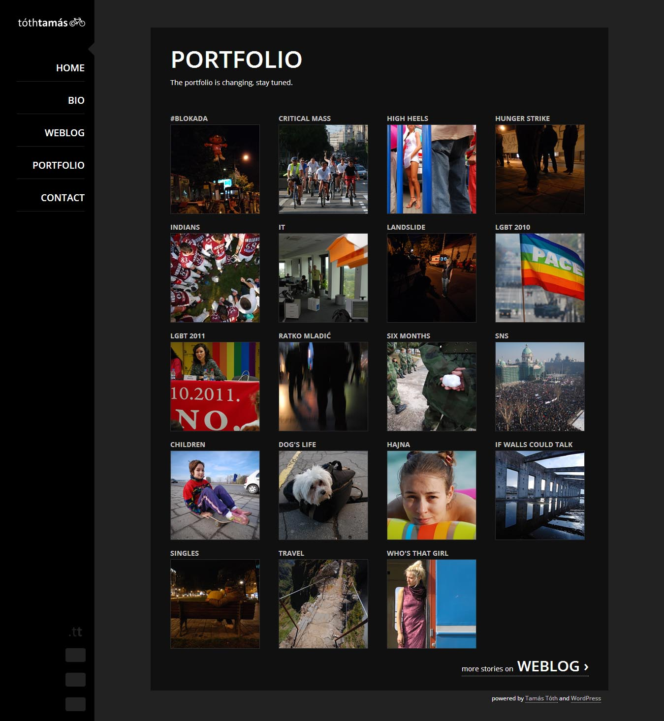 The old portfolio on the tothtamas.tt website