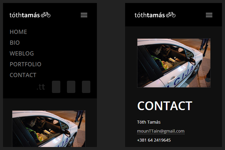 The new mobile first and responsive menu on the tothtamas.tt website