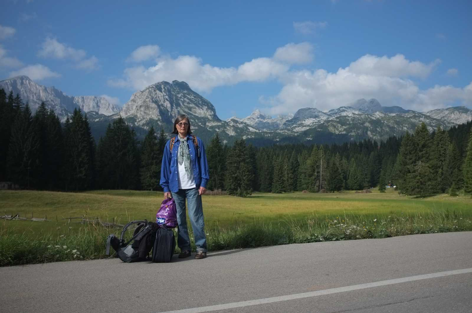 my mom at the entrance of the Durmitor national park, Zabljak, Montenegro